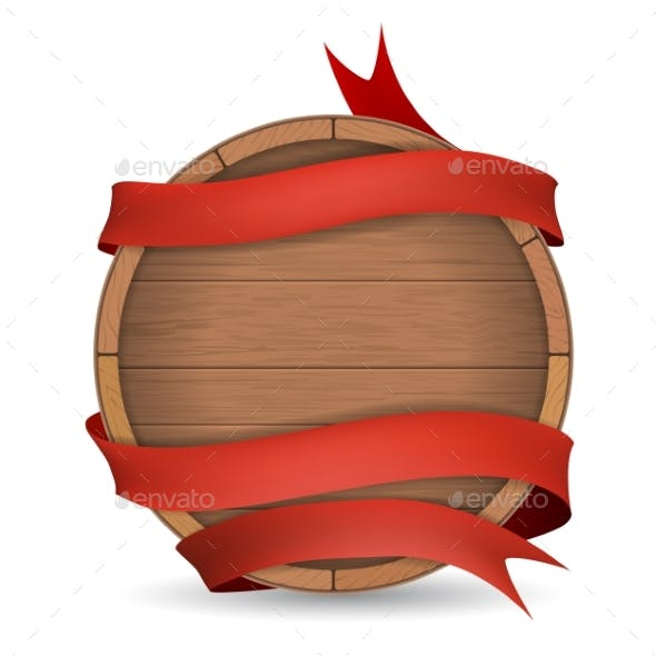 Wooden Barrel Wrapped in Red Ribbon