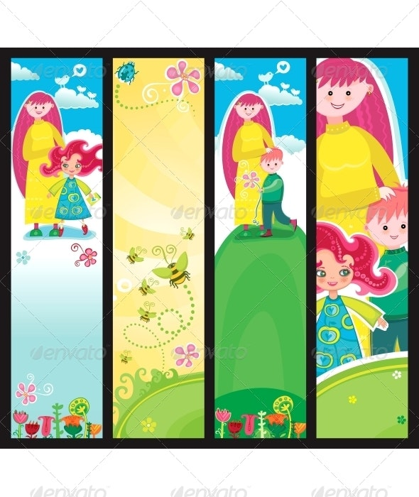 Mothers day banners - People Characters