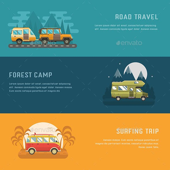 RV Camping Auto Travel Banners