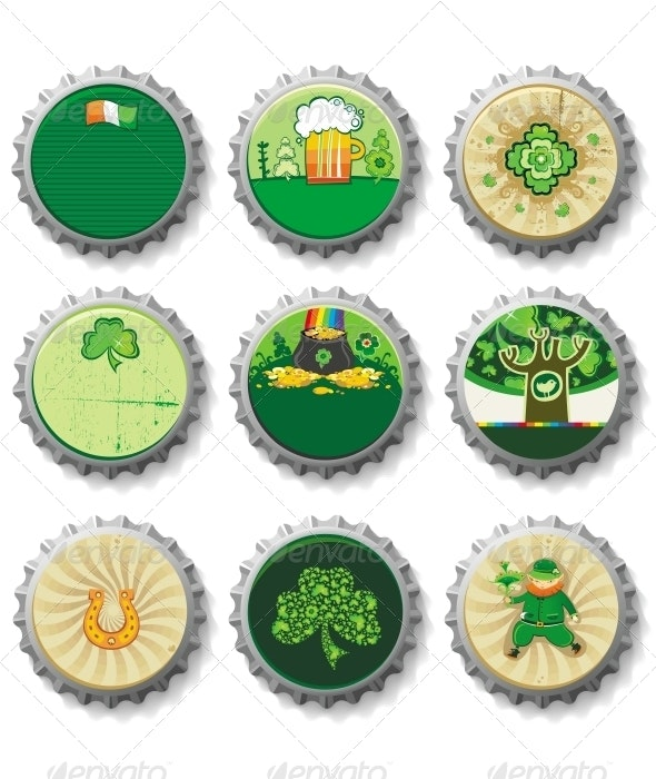 St Patrick's Day beer bottle caps set - Miscellaneous Seasons/Holidays