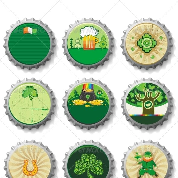 St Patrick's Day beer bottle caps set