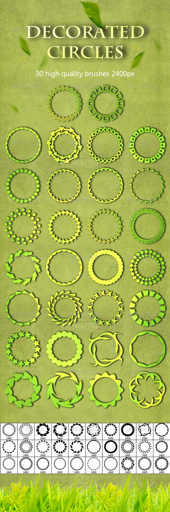 30 Decorated Circles - Artistic Brushes