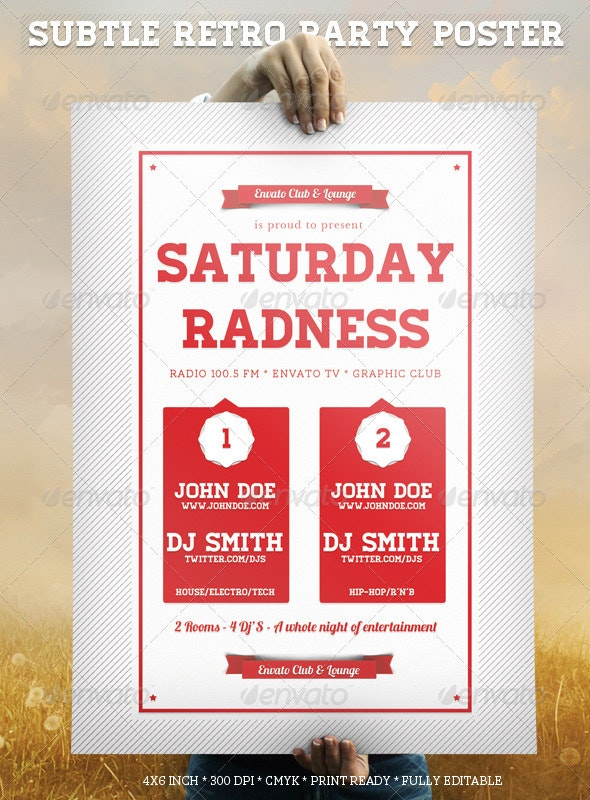 Subtle Retro Party Poster - Clubs & Parties Events