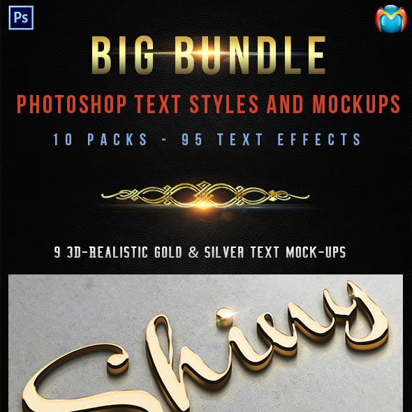 95 Photoshop Text Styles & Mockups Bundle 4