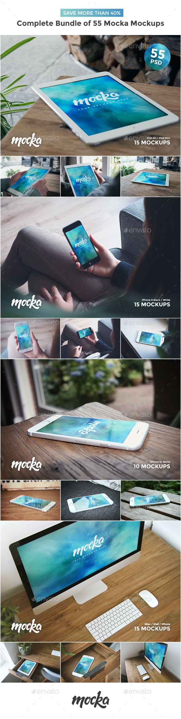Complete Bundle of 55 Mocka Mockups - Displays Product Mock-Ups