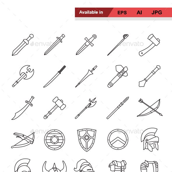 Arms and Armor Outlines Vector Icons