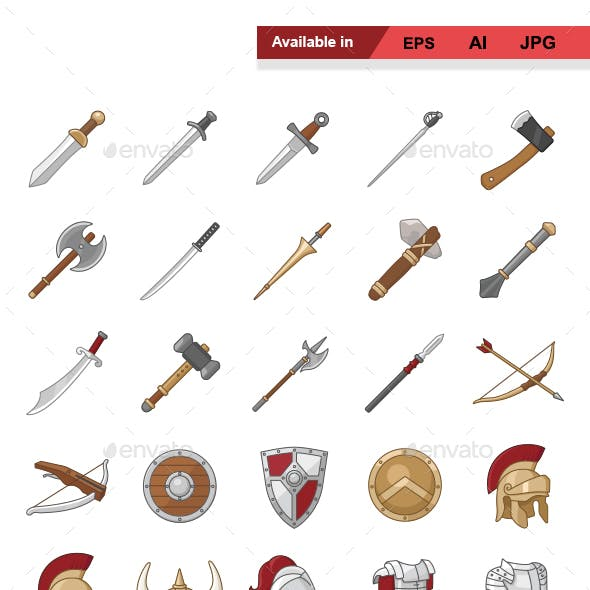 Arms and Armor Color Vector Icons