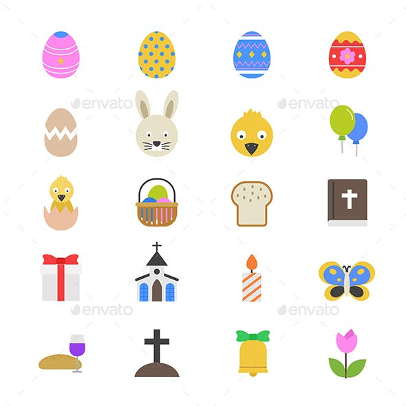 Easter Flat Color Icons