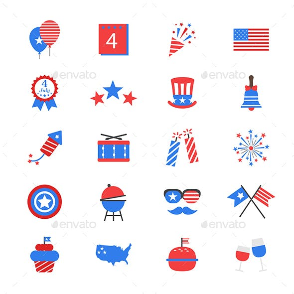 Independence Day Flat Color Icons