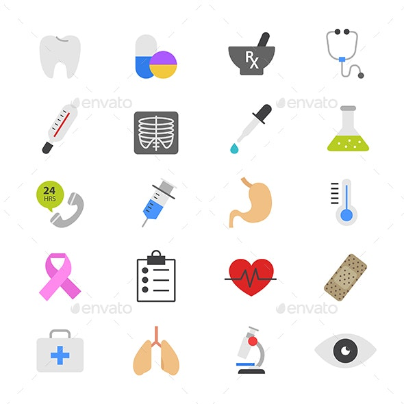Medical and Healthcare Flat Color Icons - Icons