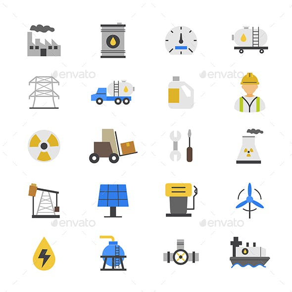 Oil and Industy Flat Color Icons