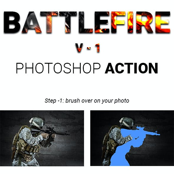 Battlefire -1 | Game Fire Effect Photoshop Actions