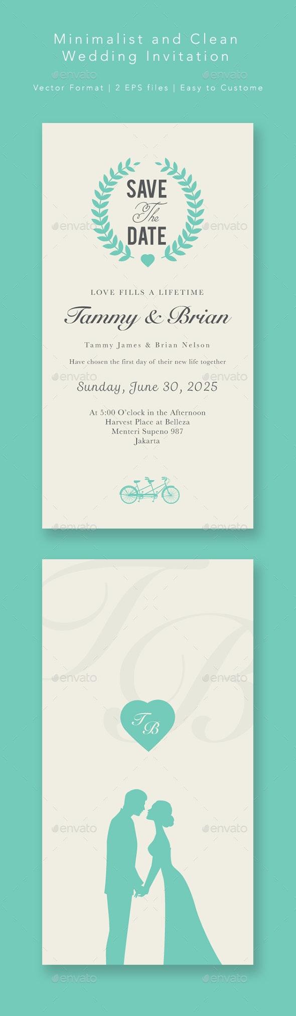 Minimalist Wedding Invitation by peterdraw | GraphicRiver