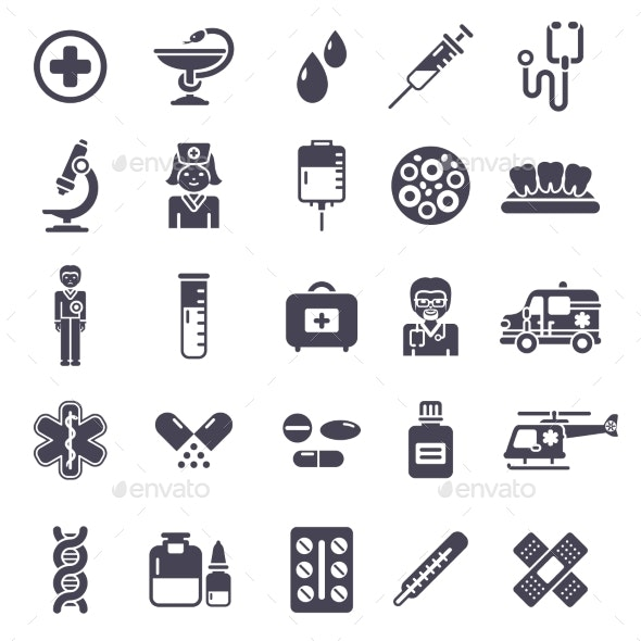 Set of Black Medical Icons Isolated on White - Health/Medicine Conceptual