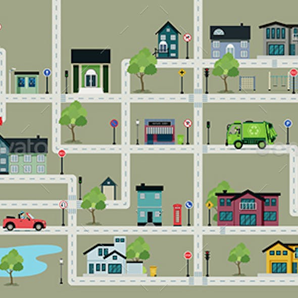 Map of City Streets with Traffic Signs