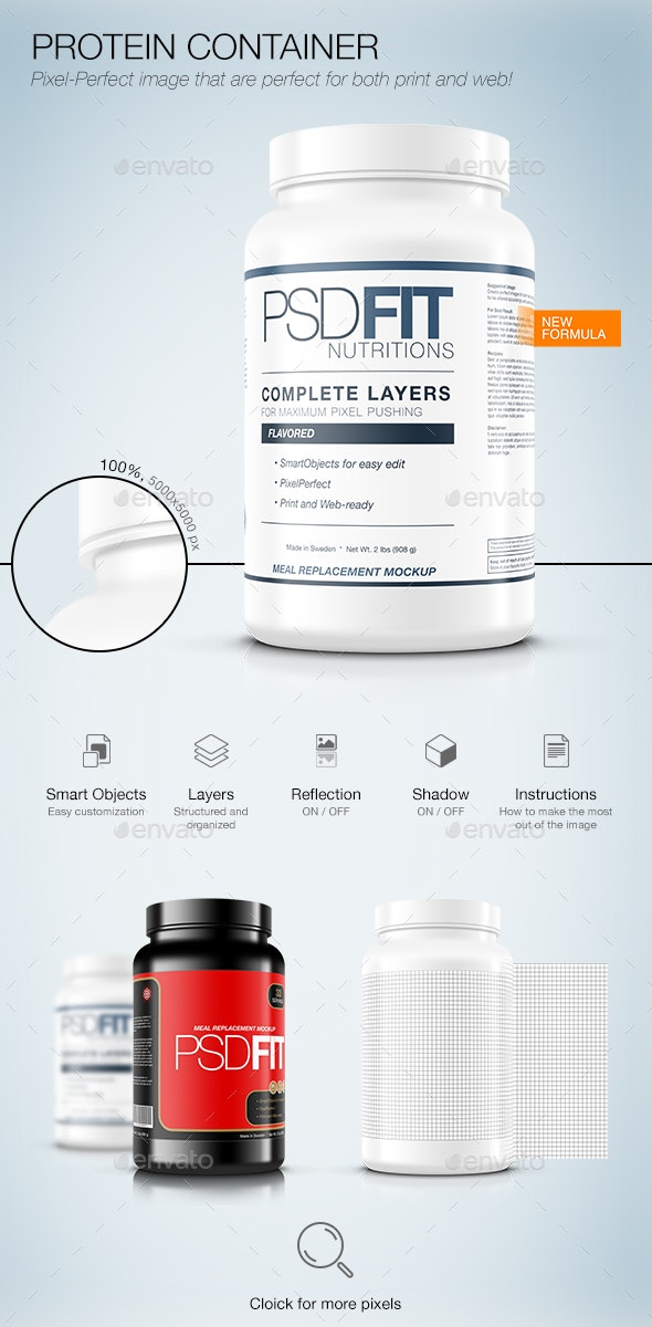 Protein Container - Product Mock-Ups Graphics