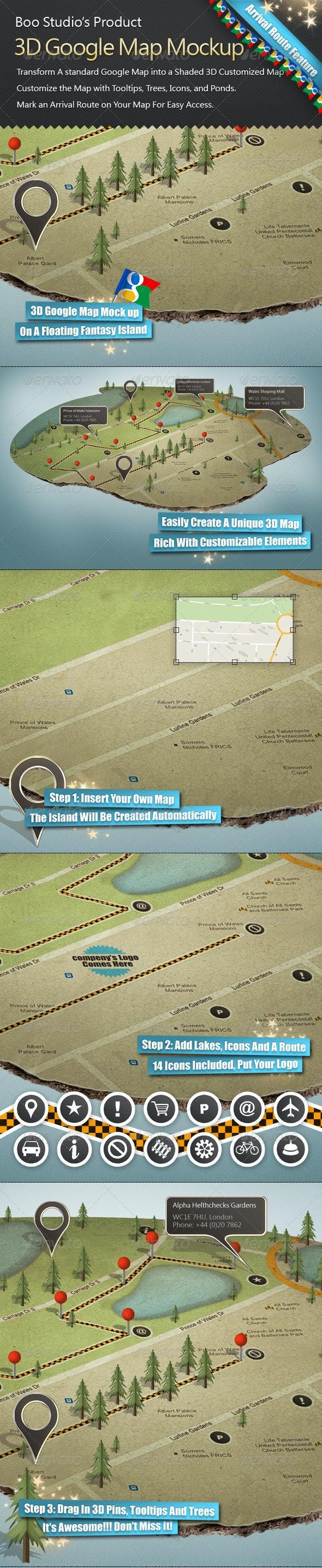 3D Google Map Mock up - Miscellaneous Print
