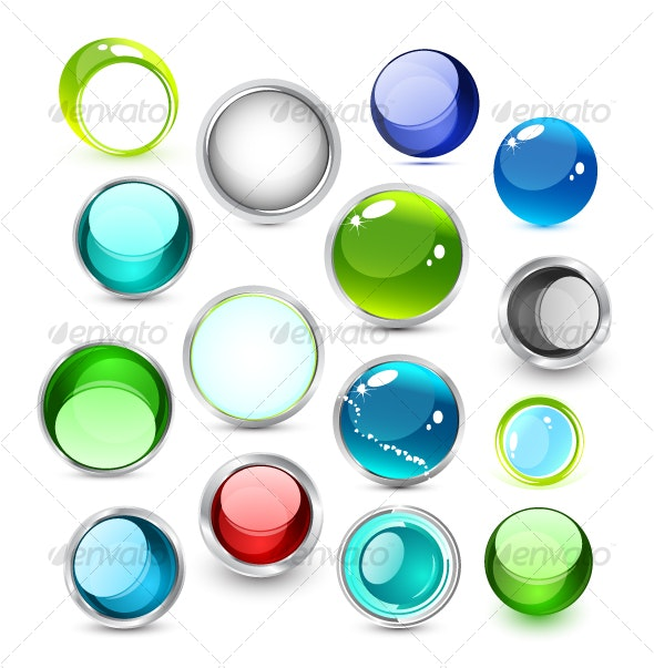 Set of vector glass icons - Web Icons
