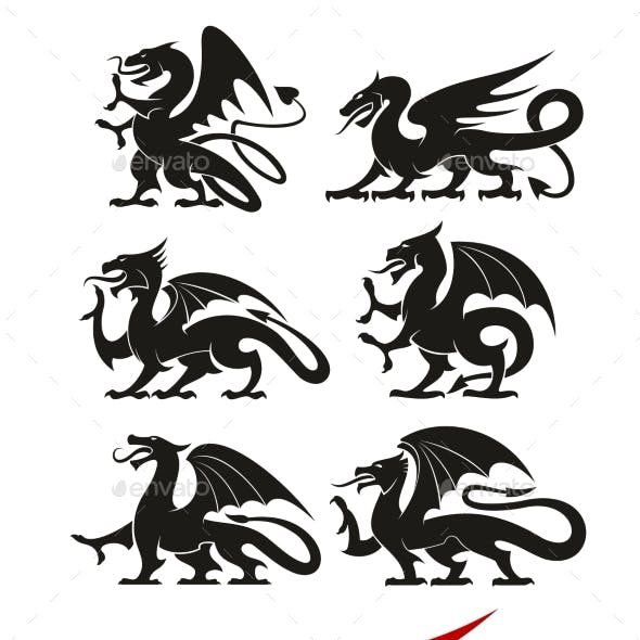 Medieval Black Heraldic Dragons Animals