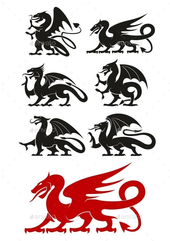 Medieval Black Heraldic Dragons Animals - Monsters Characters
