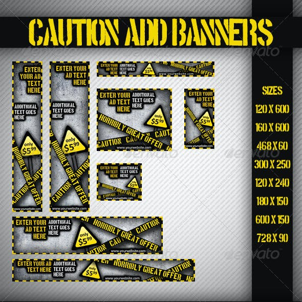 Caution Grunge Banner Set