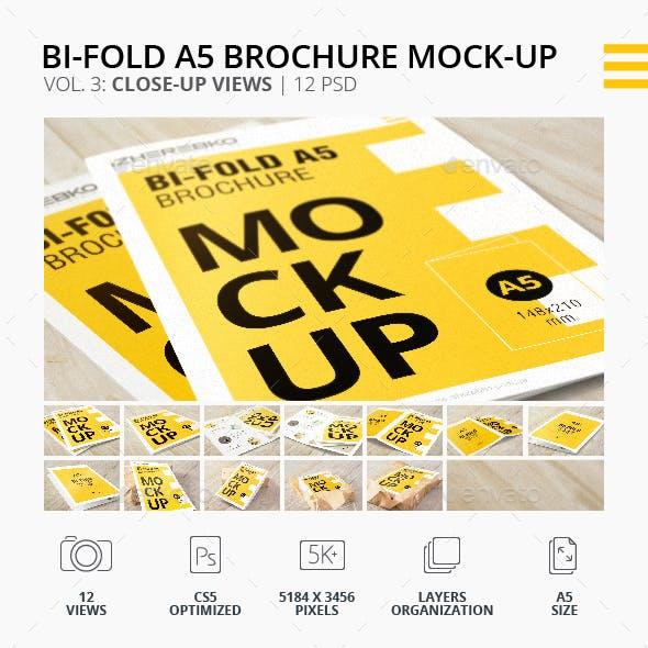 Bi-Fold A5 Brochure | Leaflet Mock-up Vol.3. Close-up