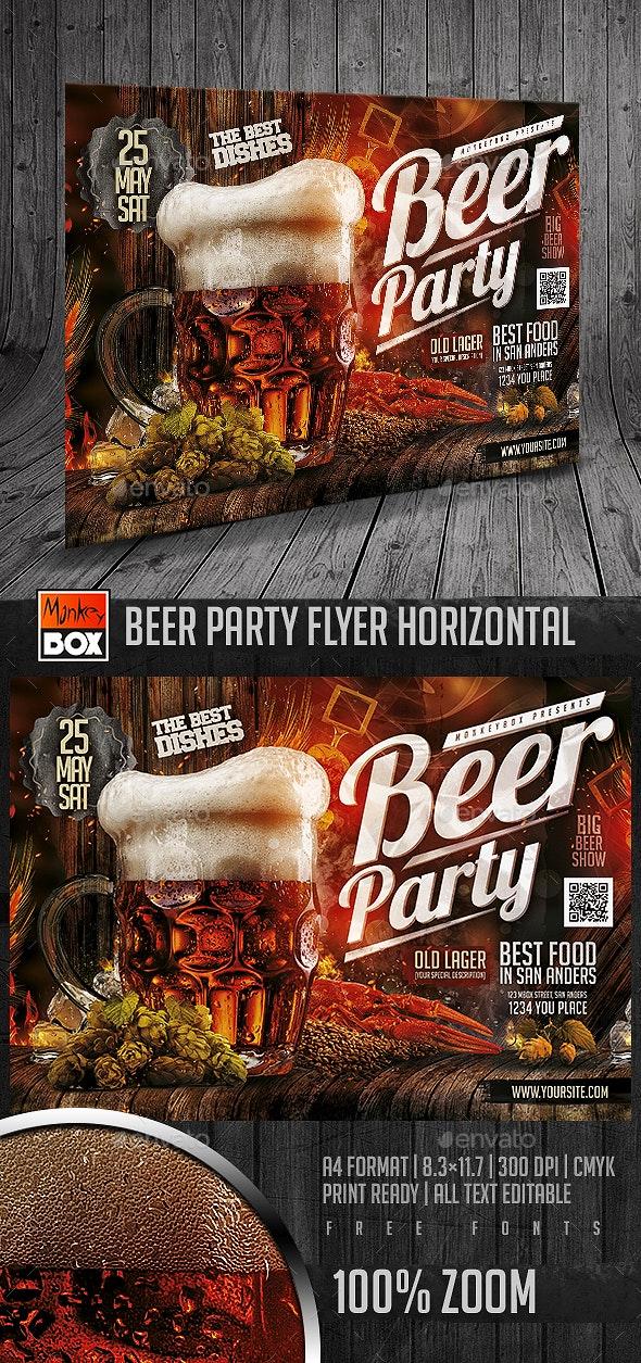 Beer Party Flyer Horizontal - Restaurant Flyers