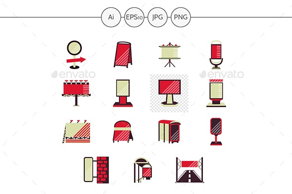 Outdoor Advertising Red Style Flat Vector Icons - Man-made objects Objects