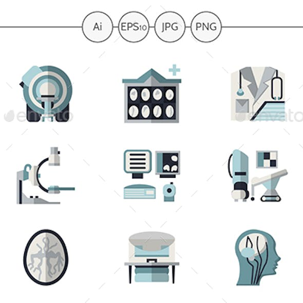 MRI Diagnostic Equipment Flat Vector Icons