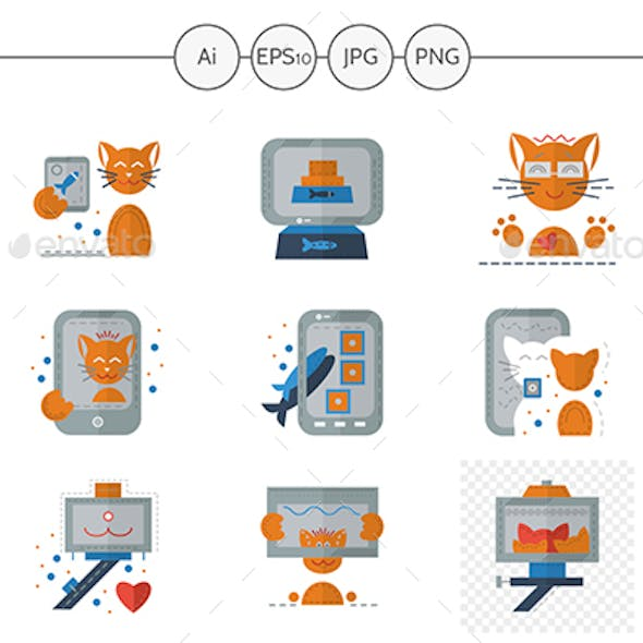 Red Cat Selfie Flat Color Icons