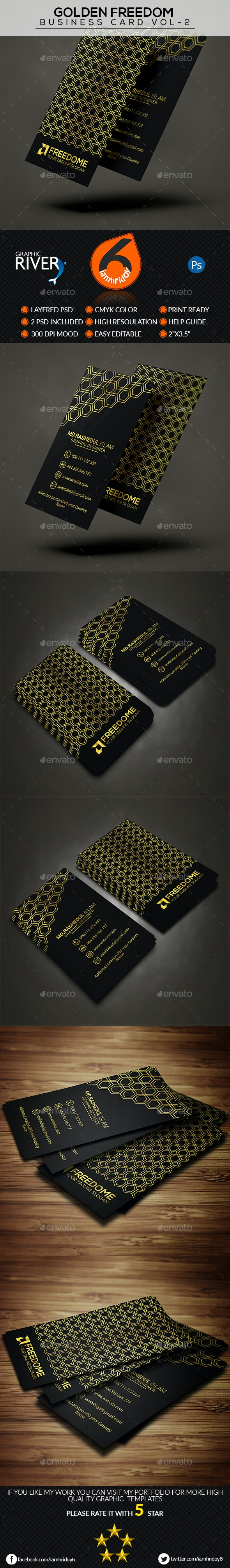 Golden Freedom Business Card Vol-2 - Business Cards Print Templates