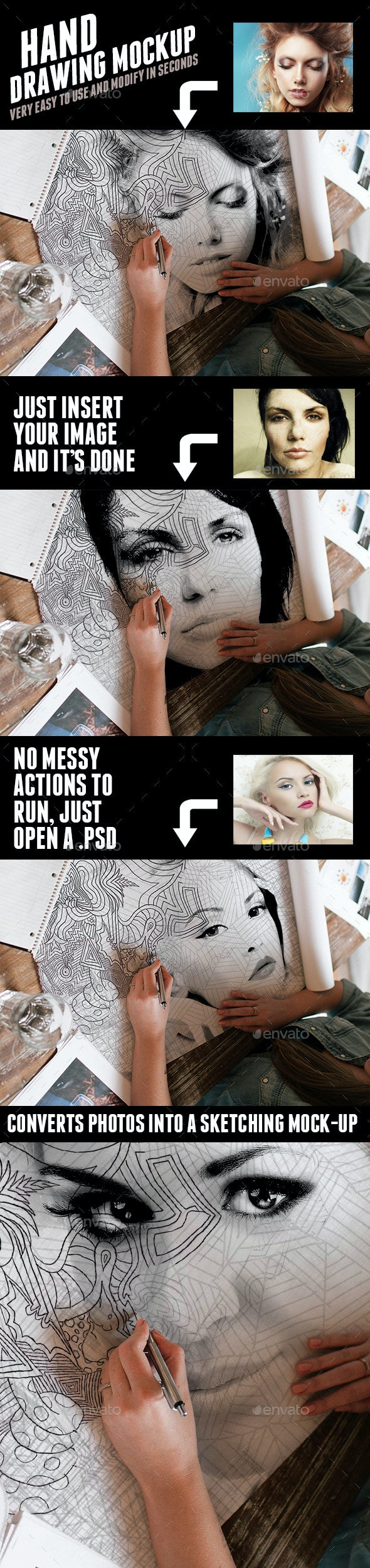 Hand Drawing Mock-up Scene - Artistic Photo Templates