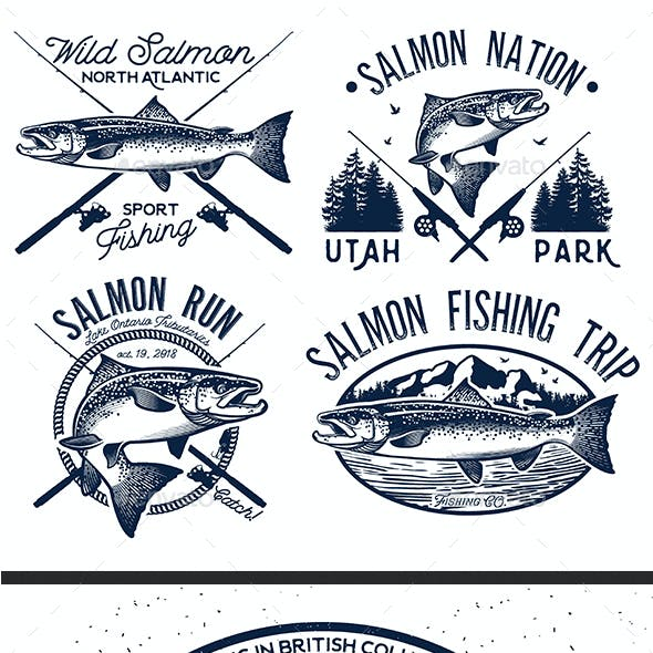 Vintage Salmon Fishing Emblem. Set 2