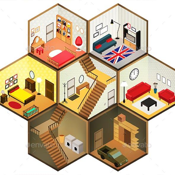 Isometric Rooms Icon