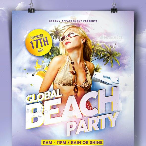Global Beach Party Flyer