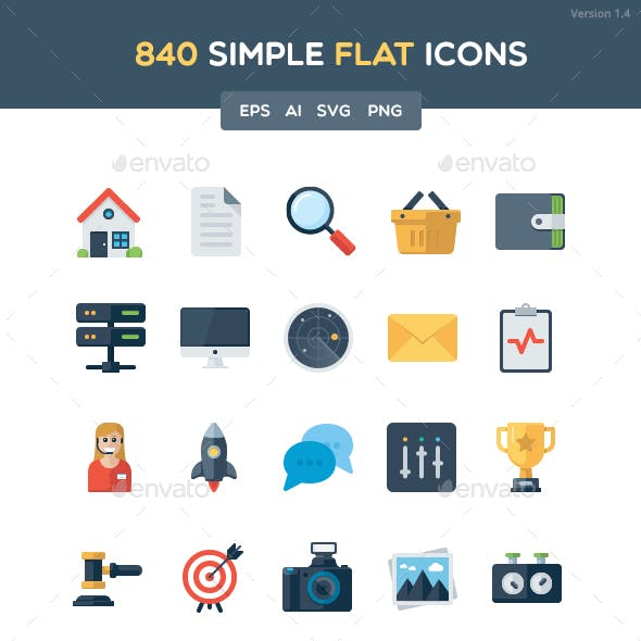 840 Simple Flat Icon Set