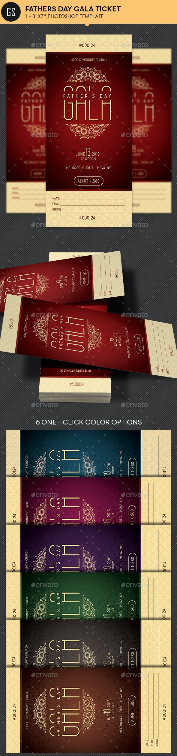 Fathers Day Gala Ticket Template - Miscellaneous Print Templates