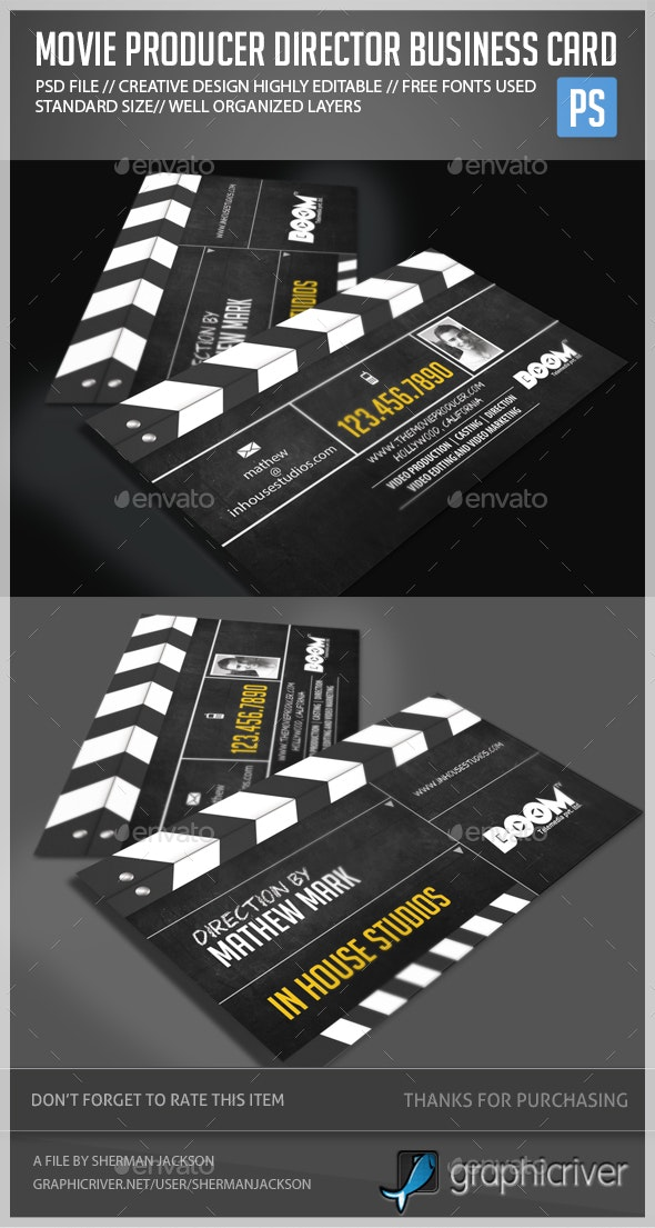 Movie Producer Director Business Card - Creative Business Cards