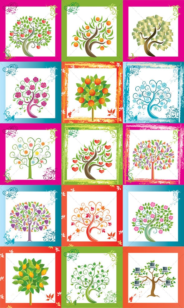 Huge set of original vector trees with frames - Decorative Symbols Decorative