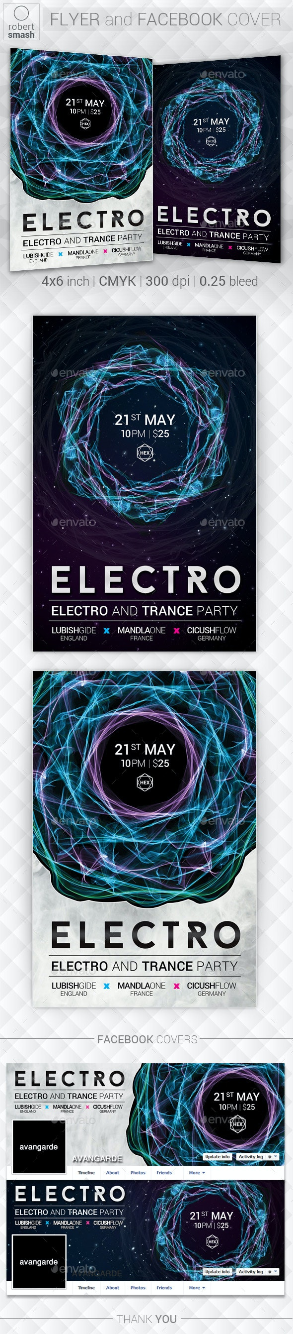 Electro Trance Music Flyer - Clubs & Parties Events