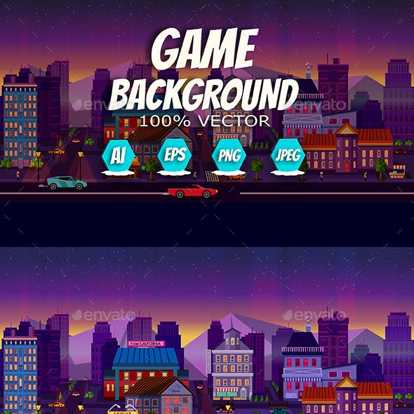 Night City Background 2D Panorama
