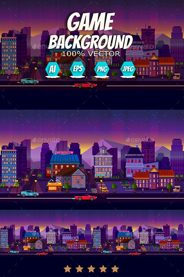 Night City Background 2D Panorama - Backgrounds Game Assets