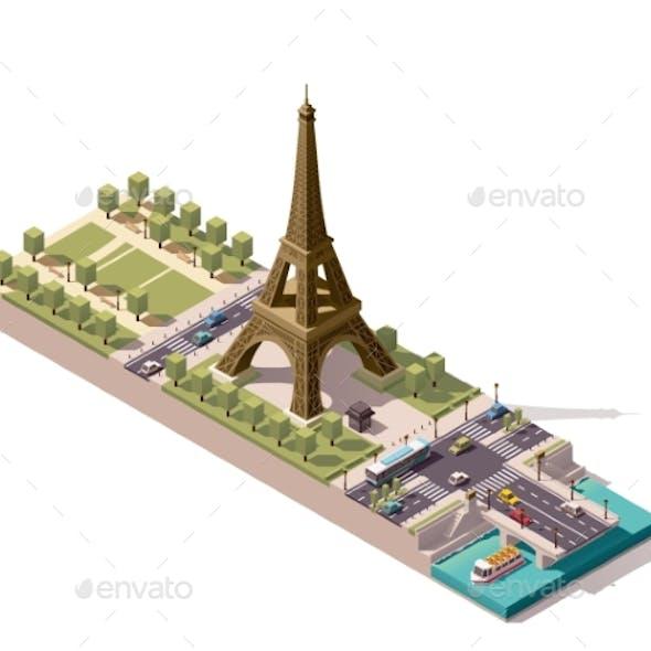 Isometric Map of The Champ De Mars in Paris