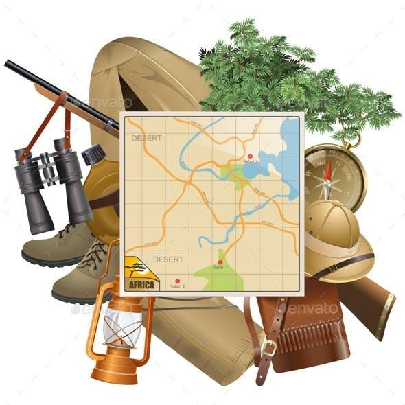 Safari Concept with Map