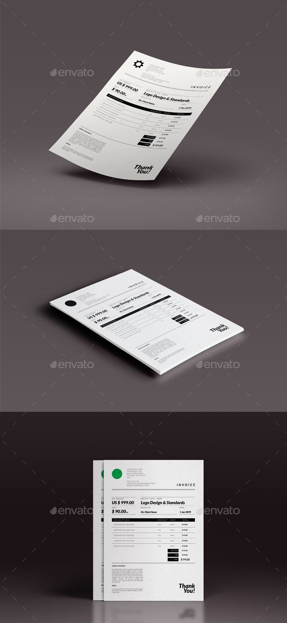 Retro Minimal Invoice Template - Proposals & Invoices Stationery