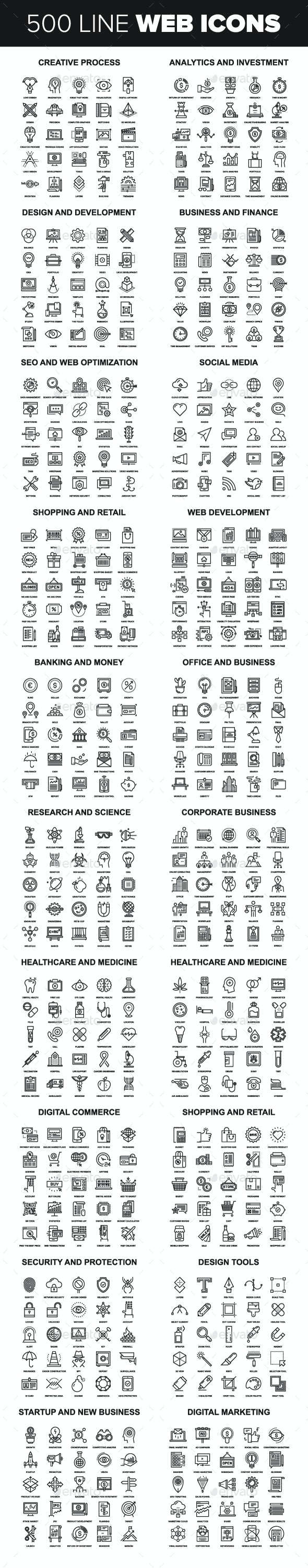Line Web Icons. - Icons