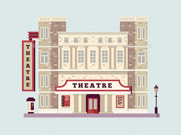 Theater Building Design Flat - Buildings Objects