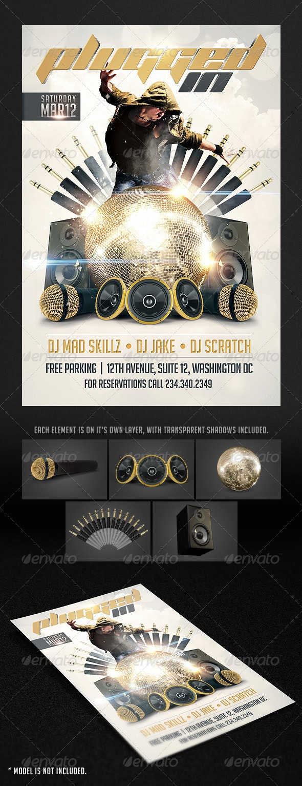 Plugged in Flyer template - Clubs & Parties Events