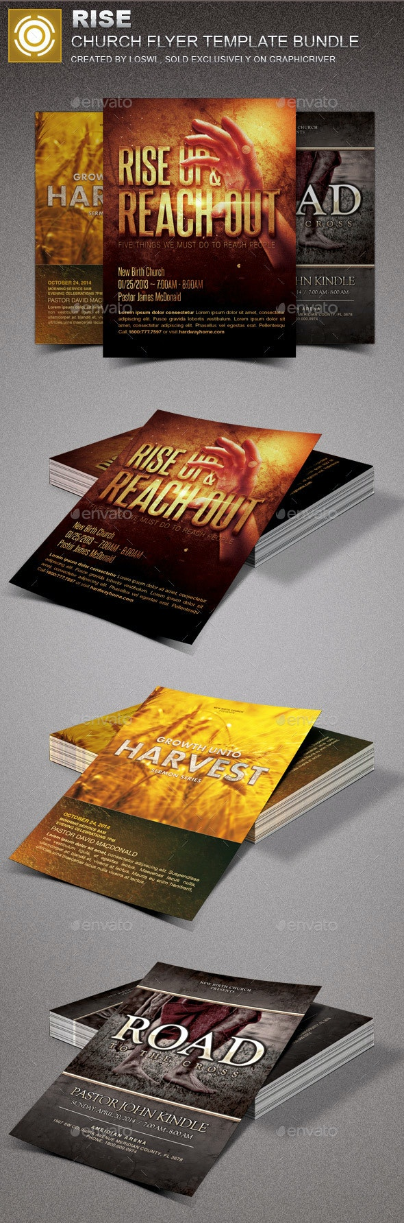 Rise Church Marketing Flyer Template Bundle - Church Flyers
