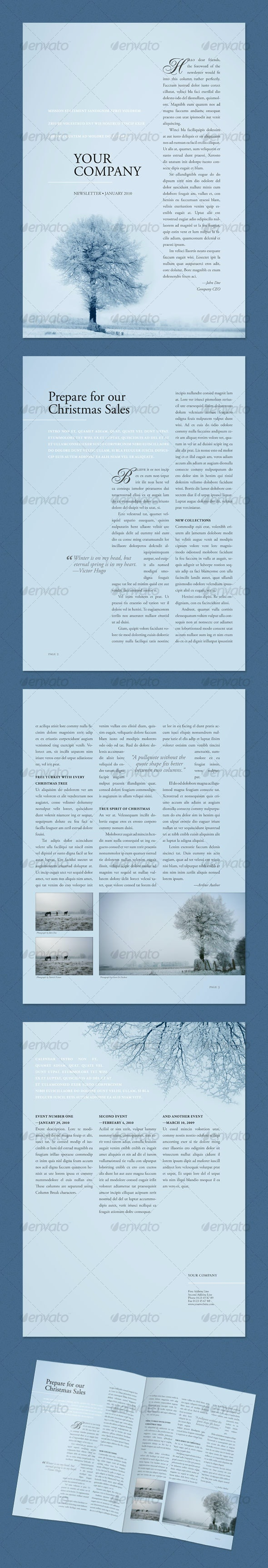 Newsletter Winter Tree (4 pages) - Newsletters Print Templates
